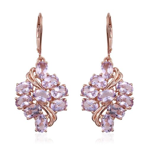 Rose De France Amethyst (Ovl) Lever Back Earrings in Rose Gold Overlay Sterling Silver 6.500 Ct.