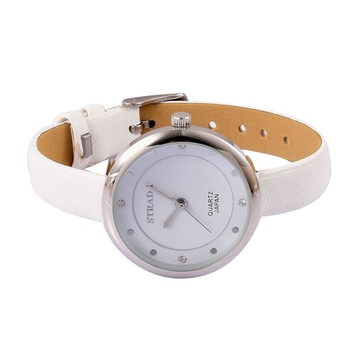 STRADA Japanese Movement White Austrian Crystal Watch with White Colour Band and Stainless Steel Back
