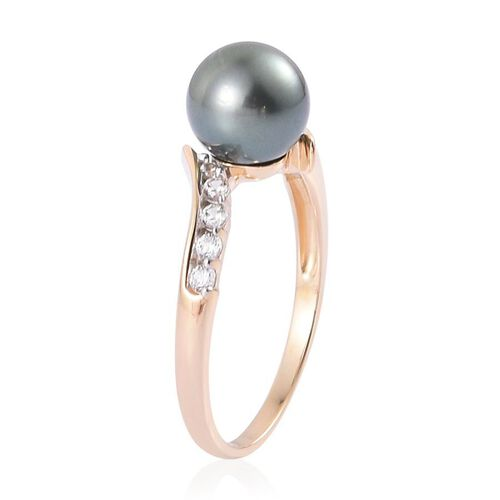 14K Y Gold Tahitian Pearl (Rnd 4.75 Ct), White Zircon Ring 5.000 Ct.