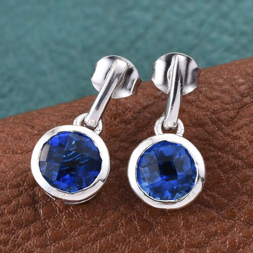 Checkerboard Cut Ceylon Colour Quartz (Rnd) Earrings (with Push Back) in Platinum Overlay Sterling Silver 4.500 Ct.