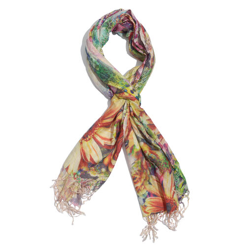 100% Modal Floral Digital Print Multi Colour Scarf (Size 190x70 Cm)
