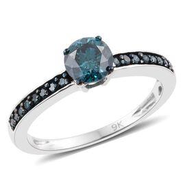 9K White Gold 1 Carat Blue Diamond Ring I3 I - J