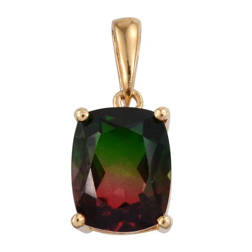 BI-Colour Tourmaline Quartz (Cush) Solitaire Pendant in 14K Gold Overlay Sterling Silver 3.500 Ct.