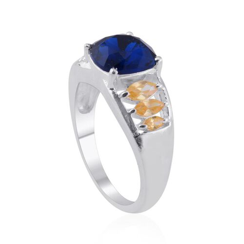 Crystal from Swarovski Elements - Indicolite Colour Crystal (Cush 3.00 Ct), Simulated Citrine Ring in Sterling Silver 4.250 Ct.