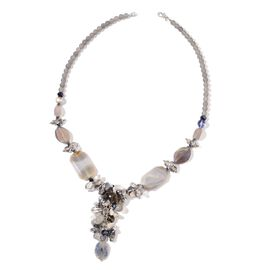 Grey Agate, Simulated Multi Colour Diamond and Grey Glass Pearl Cluster Necklace (Size 29) in Silver Tone 580.000 Ct.