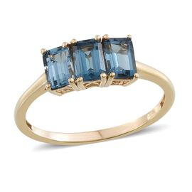 London Blue Topaz (Oct) Trilogy Ring in 14K Gold Overlay Sterling Silver 2.000 Ct.