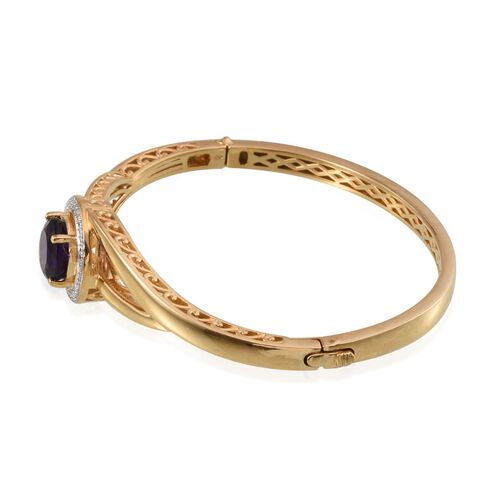 Amethyst (Rnd) Bangle (Size 7.5) in ION Plated 18K Yellow Gold Bond 4.000 Ct.