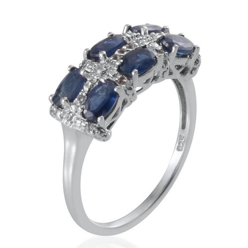 Kanchanaburi Blue Sapphire (Ovl), White Topaz Ring in Platinum Overlay Sterling Silver 2.000 Ct.