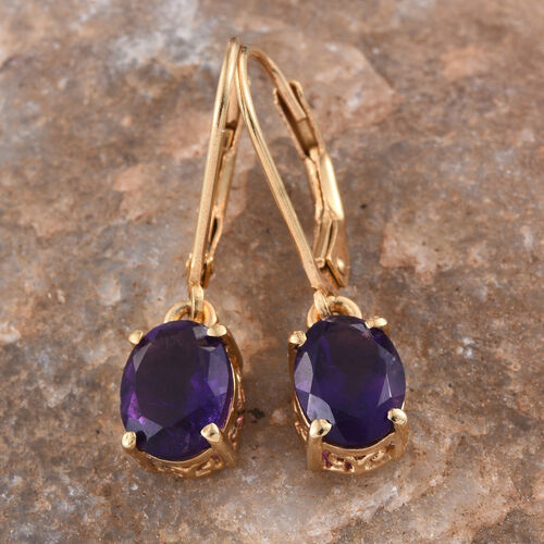AA Lusaka Amethyst (Ovl) Lever Back Earrings in 14K Gold Overlay Sterling Silver 2.000 Ct.
