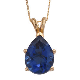 Ceylon Colour Quartz (Pear) Solitaire Pendant With Chain in 14K Gold Overlay Sterling Silver 8.750 Ct.
