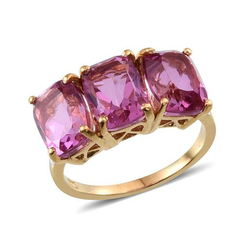 Kunzite Colour Quartz (Cush) Trilogy Ring in 14K Gold Overlay Sterling Silver 8.500 Ct.