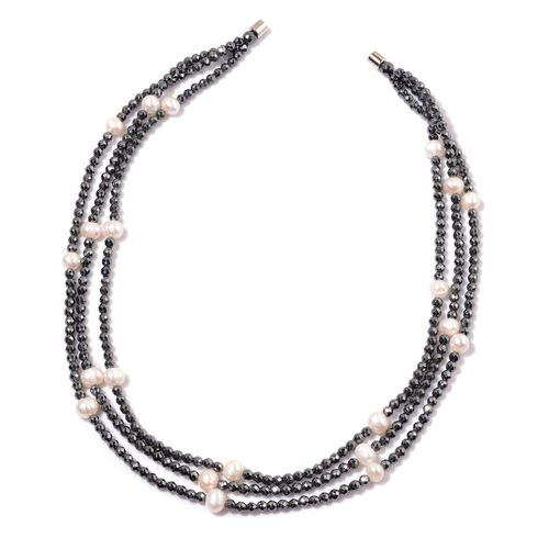 Hematite and Fresh Water White Pearl Necklace (Size 18) in Silver Tone 300.000 Ct.