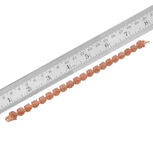 Morogoro Peach Sunstone (Rnd) Bracelet (Size 7.5) in Rose Gold Overlay Sterling Silver 24.000 Ct.