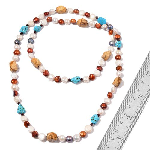 Multi Gemstones and Fresh Water Multi Colour Pearl Necklace (Size 48) 910.00 Ct.