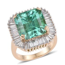 ILIANA 18K Y Gold Boyaca Colombian Emerald (Oct 10.00 Ct), Diamond Ring 11.750 Ct.