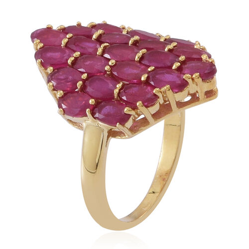 African Ruby (Ovl) Cluster Ring in 14K Gold Overlay Sterling Silver 8.000 Ct.
