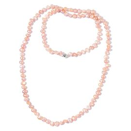Fresh Water Peach Pearl Necklace (Size 38) in Silver Tone