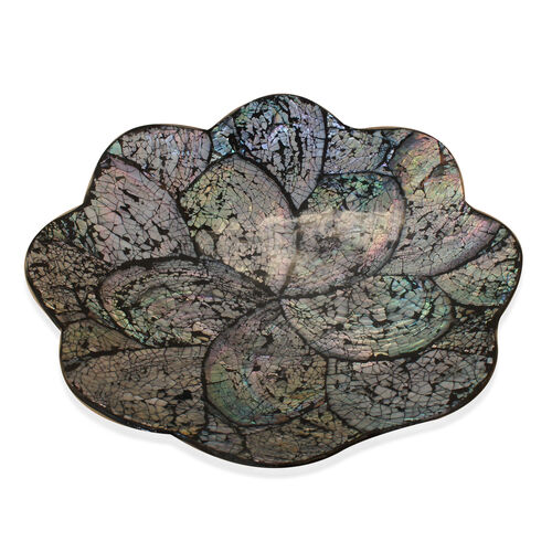 Flower Shaped Shell Inlay Semiflat Bowl Black Resin (Size 23x23 Cm)