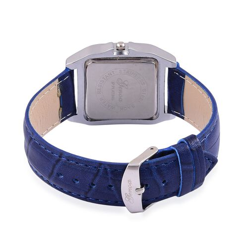 GENOA Japanese Movement Silver Colour Dial Water Resistant Watch in Silver Tone with Stainless Steel Back and Blue Strap