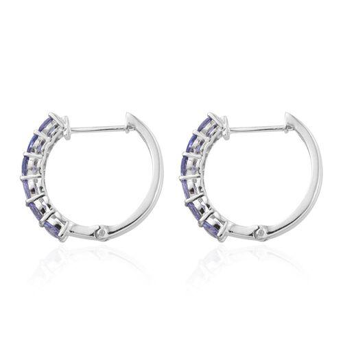 Tanzanite (Rnd) Hoop Earrings in Platinum Overlay Sterling Silver 2.000 Ct.