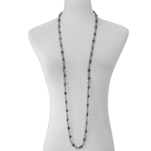 Grey Shell Pearl and Grey Glass Necklace (Size 46)