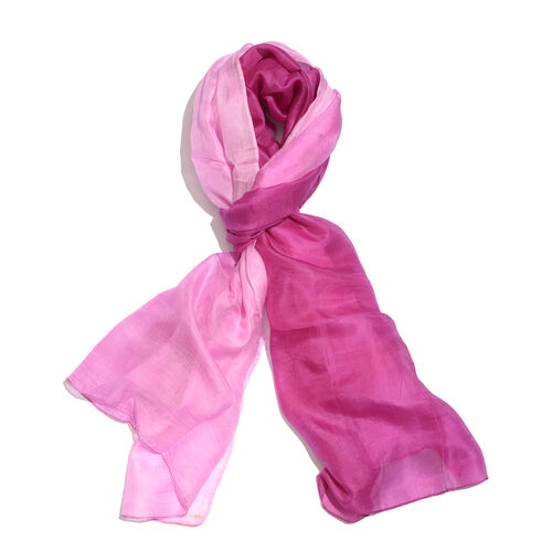 100% Mulberry Silk Pink and Purple Colour Scarf (Size 180x100 Cm)