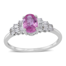 One Time Deal 9K W Gold AA Pink Sapphire (Ovl), Diamond (I3/G-H) Ring 1.000 Ct.