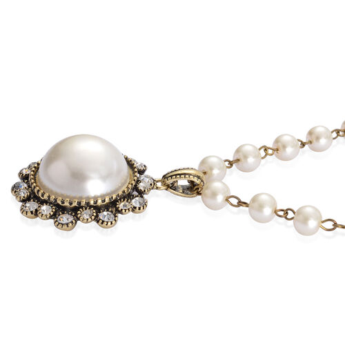 White Austrian Crystal and White Glass Pearl Necklace (Size 28 with 3 Inch Extender) in Silver Tone with Resin