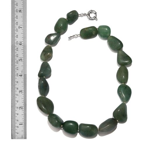 Green Aventurine Necklace (Size 20) in Silver Tone 644.060 Ct.
