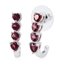 Rhodolite Garnet (Hrt) J Hoop Earrings (with Push Back) in Platinum Bond 2.500 Ct.