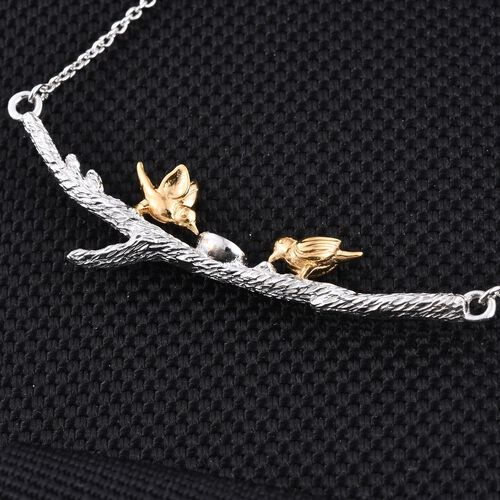 Two Birds on Branch Silver Necklace in Platinum and Gold Overlay Size 18 Inch, 6.87 Gms.