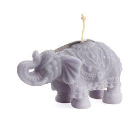 Home Decor - Grey Colour Unscented Decorative Elephant Shape Candle (Size 14x8 Cm)