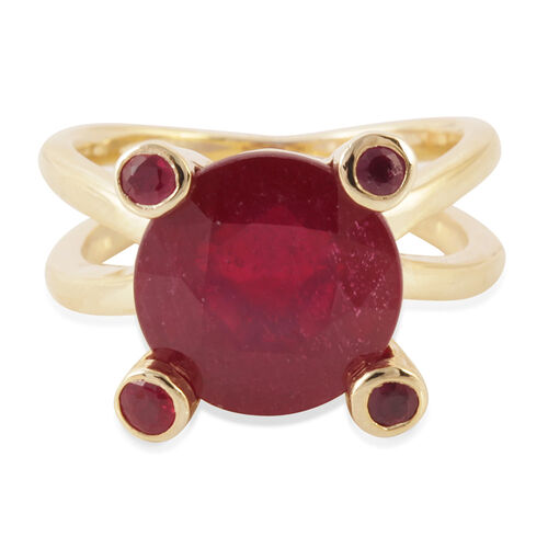 African Ruby (Rnd 8.50 Ct), Burmese Ruby Ring in 14K Gold Overlay Sterling Silver 8.750 Ct.
