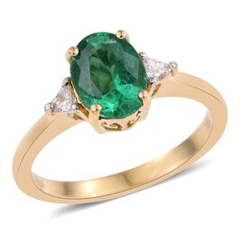 ILIANA 18K Yellow Gold 1.40 Carat AAAA Boyaca Colombian Emerald And Diamond (SI/G-H) Ring