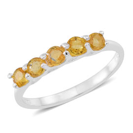 Yellow Sapphire (Rnd) 5 Stone Ring in Sterling Silver 1.250 Ct.
