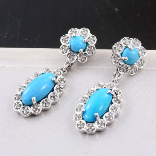 Arizona Sleeping Beauty Turquoise (Ovl), Natural Cambodian Zircon Earrings (with Push Back) in Platinum Overlay Sterling Silver 3.150 Ct.