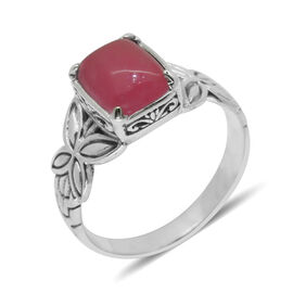 Royal Bali Collection Pink Jade (Cush) Solitaire Ring in Sterling Silver 3.580 Ct.
