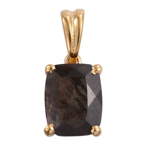 Natural Zawadi Golden Sheen Sapphire (Cush) Solitaire Pendant in 14K Gold Overlay Sterling Silver 3.500 Ct.