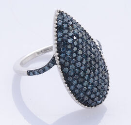 Limited Edition - Designer Inspired Blue Diamond (Rnd) Cluster Ring in Platinum Overlay Sterling Silver 1.000 Ct.
