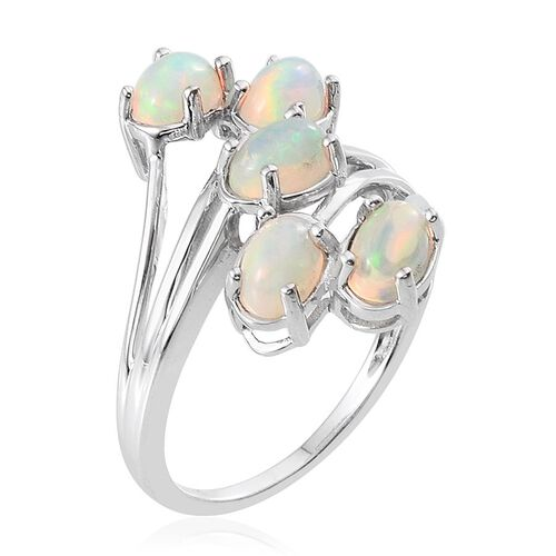 9K W Gold AAA Ethiopian Welo Opal (Ovl) 5 Stone Crossover Ring 1.750 Ct.