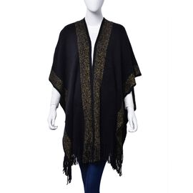 Designer Inspired Black and Golden Wrap With Tassels (One Size fits all)
