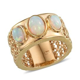 AA Ethiopian Welo Opal (Ovl 0.75 Ct) 3 Stone Band Ring in 14K Gold Overlay Sterling Silver 1.500 Ct.