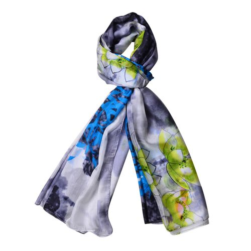 100% Mulberry Silk Lotus Floral Pattern Blue, Grey, Green and Multi Colour Scarf (Size 170x110 Cm)