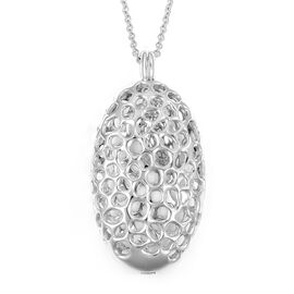 RACHEL GALLEY Rhodium Plated Sterling Silver Charmed Pebble Necklace (Size 30), Silver wt 24.49 Gms.