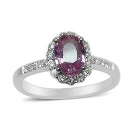 14K W Gold AAAA Hot Pink Sapphire (Ovl 0.90 Ct), Diamond (I1/I2 G-H) Ring 1.160 Ct.