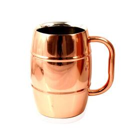 (Option 2) Home Decor - Barrel Shape Mug in Rose Gold Tone