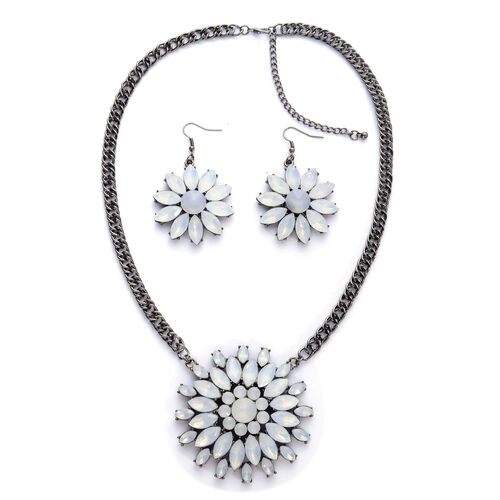 Simulated White Stone Necklace (Size 20) and Hook Earrings in Black Tone
