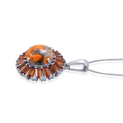 Bumble Bee Jasper (Rnd 2.75 Ct), Ratnapura Hessonite Garnet Pendant With Chain in Platinum Overlay Sterling Silver 4.750 Ct.