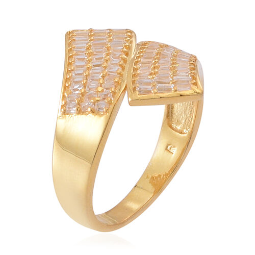 ELANZA AAA Simulated White Diamond (Bgt) Crossover Ring in 14K Gold Overlay Sterling Silver