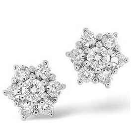 14K W Gold SGL Certified Diamond (Rnd) (I2 / G-H) Stud Earrings (with Screw Back) 0.500 Ct.